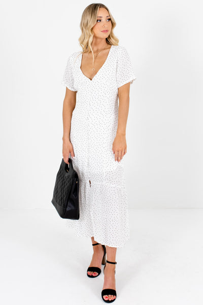 White Black Polka Dot Button Up Boutique Maxi Dresses