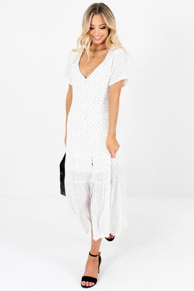 White Black Smallscale Polka Dot Print Maxi Dresses for Women