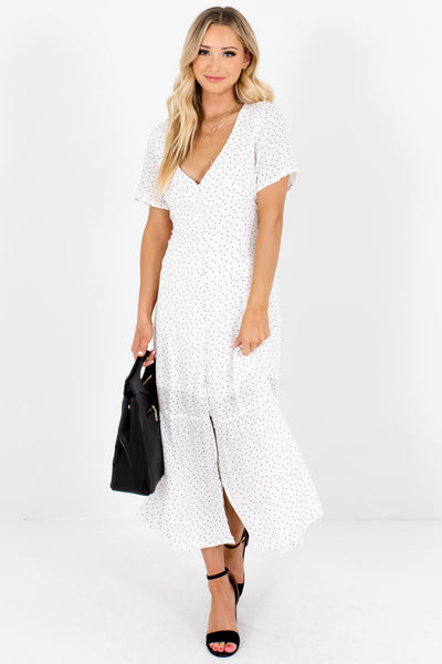 White Black Polka Dot Button Up Maxi Dress with Partial Lining