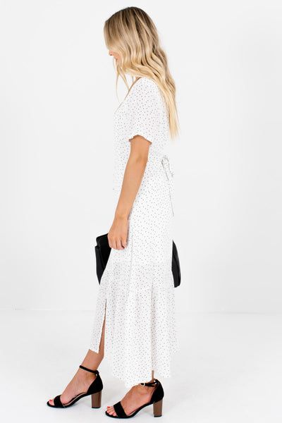 White Black Polka Dot Button Up Maxi Dresses for Women