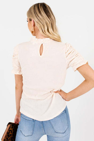 Women's Cream Keyhole Back Boutique Tops