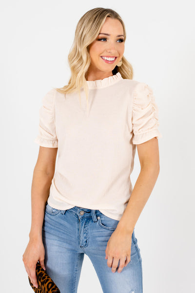 Cream Ruched Puff Sleeve Style Boutique Tops for Women