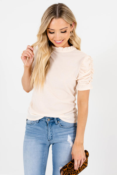 Cream High-Quality Textured Material Boutique Tops for Women