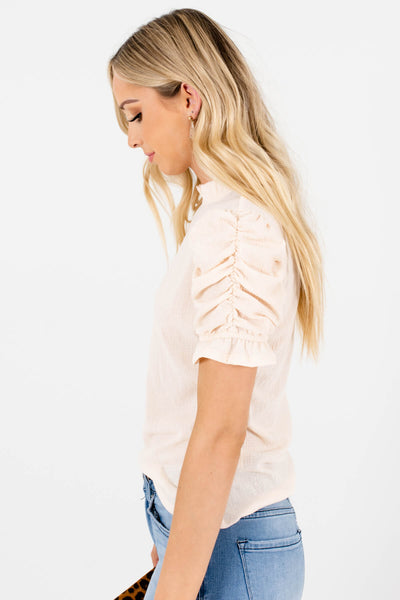 Women's Cream Ruffled Neckline Boutique Tops
