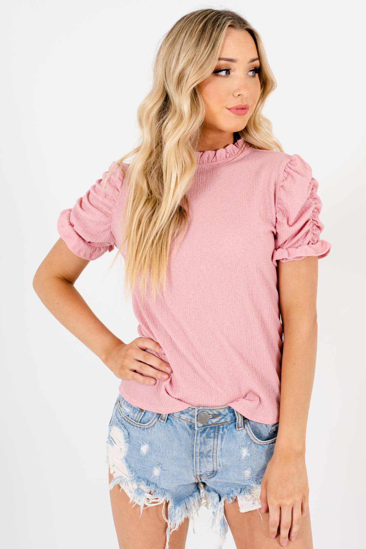 Pink Ruched Puff Sleeve Style Boutique Tops for Women