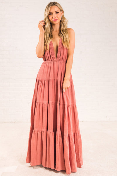 Dark Pink Tiered Ruffle Style Boutique Dresses for Women