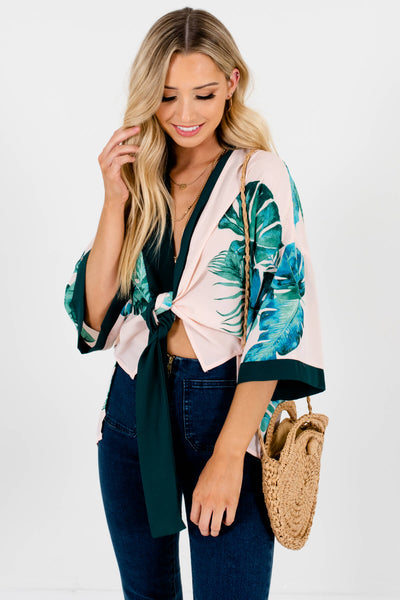 Blush Pink Green Trim Tropical Print Kimonos Affordable Online Boutique