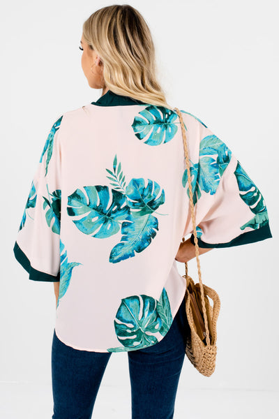 Blush Pink Watercolor Palm Print Tropical Kimonos with Tie Front Detail