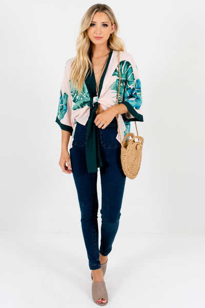 Blush Pink Watercolor Palm Leaf Print Tropical Kimonos for Women