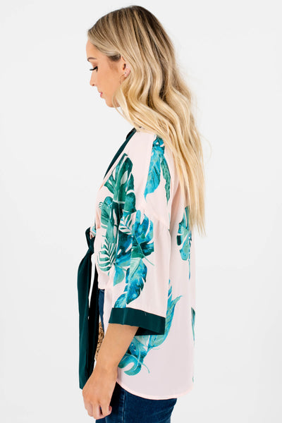 Blush Pink Green Watercolor Tropical Print Kimonos for Women