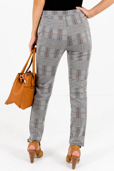 Women's Boutique Gray Plaid Pants with Pockets