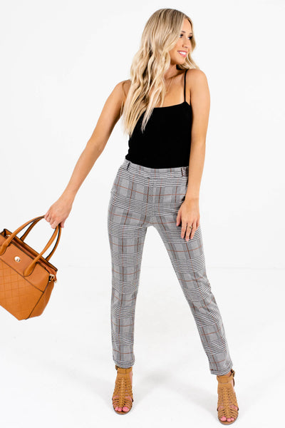 Gray Plaid Cute and Comfortable Boutique Pants for Women