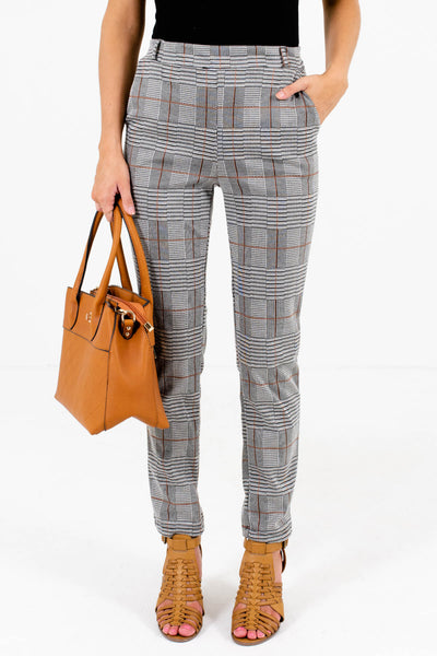 Gray, Black, Cream, and Rust Plaid Patterned Boutique Pants for Women