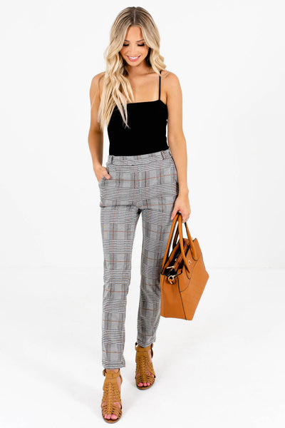 Women's Gray Plaid High-Quality Stretchy Material Boutique Pants
