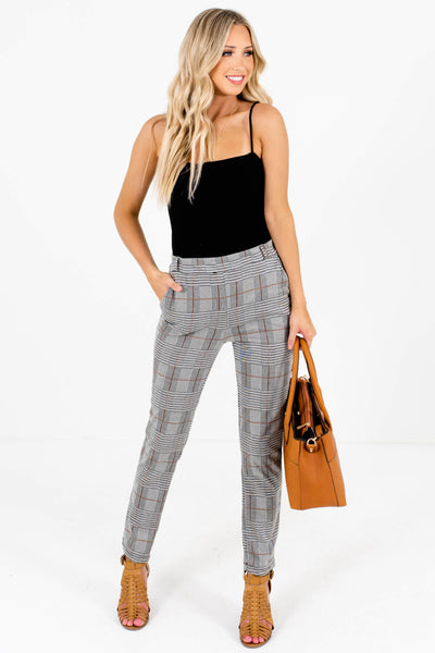 Gray Plaid True-to-Size Fall Boutique Pants for Women