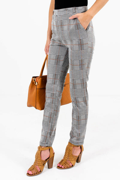 Gray Plaid Elastic Waistband Boutique Pants for Women