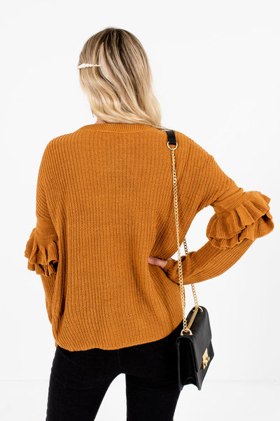 Women's Orange Ruffle Sleeve Boutique Sweaters