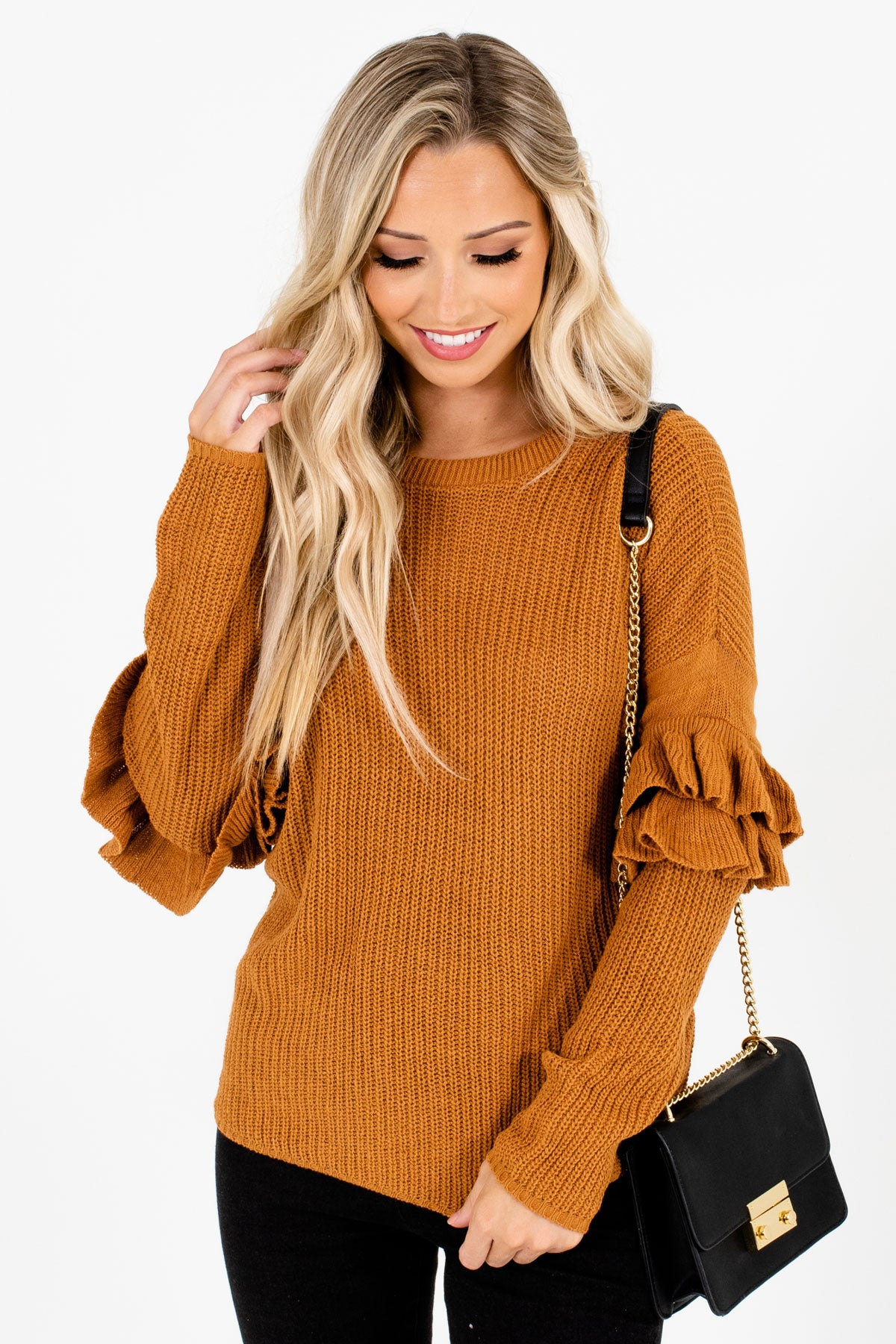 Orange High-Quality Knit Boutique Sweaters for Women