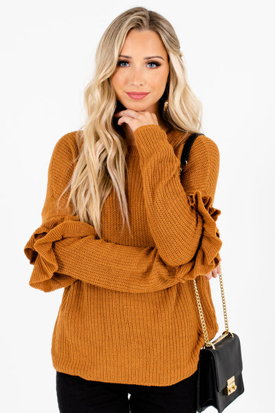 Women's Orange Warm and Cozy Boutique Sweaters