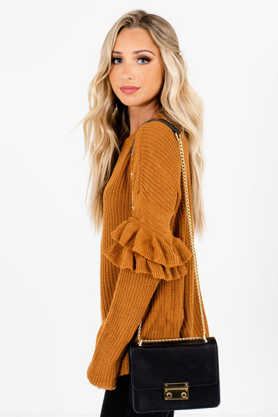 Orange Round Neckline Boutique Sweaters for Women
