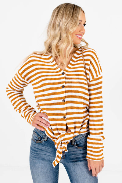 Rust Orange and White Striped Boutique Tops for Women