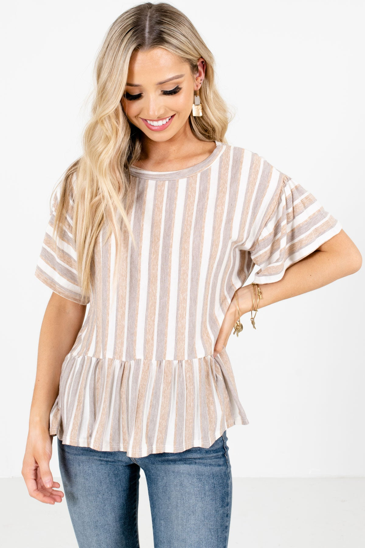 Brown Multi Striped Pattern Boutique Tops for Women