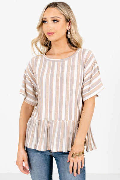 Women's Brown Casual Everyday Boutique Tops