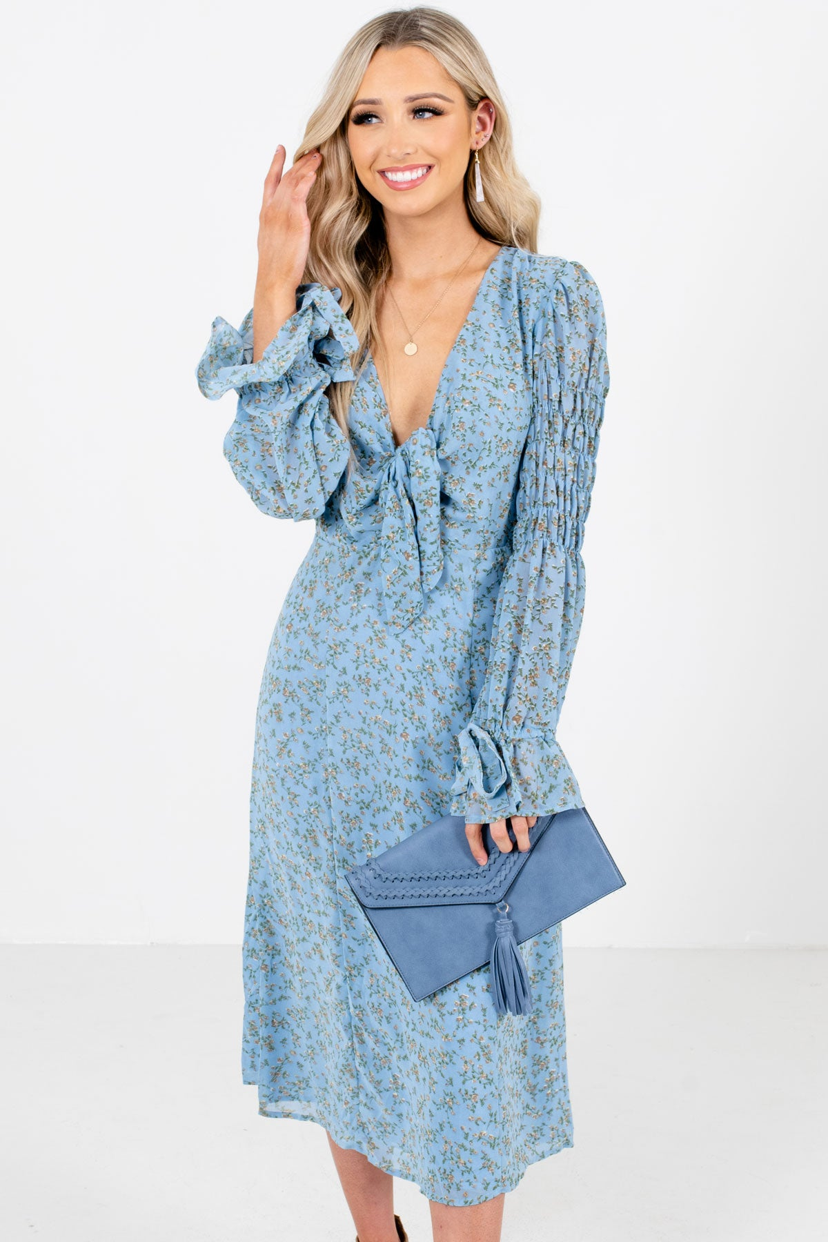 Blue Floral Patterned Boutique Midi Dresses for Women