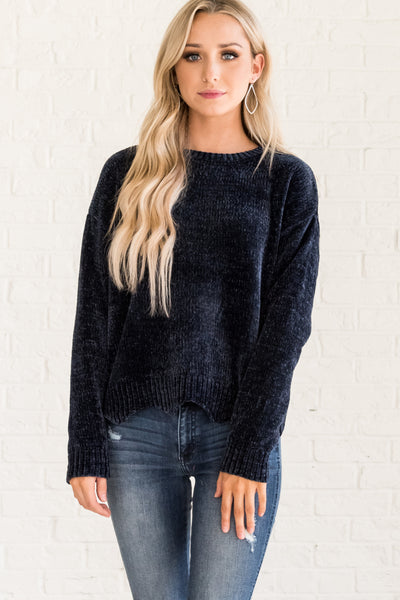 Navy Blue Cute Cozy Pullover Chenille Sweaters with Scalloped Hem