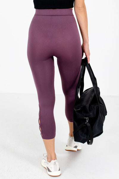 Women's Purple Criss Cross Hem Detailed Boutique Active Leggings
