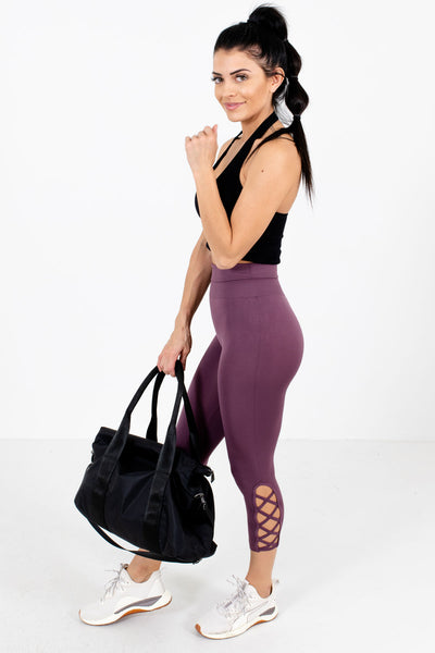 Women's Purple Hugging Fit Boutique Active Leggings
