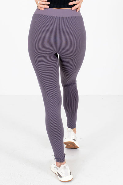 Women's Purple Striped Patterned Boutique Active Leggings