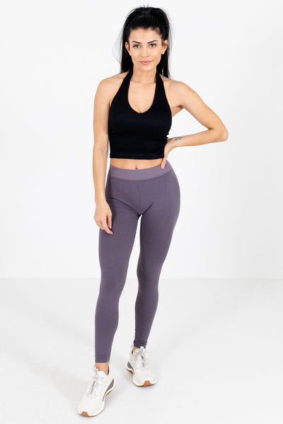 Women's Purple Ribbed Material Boutique Active Leggings