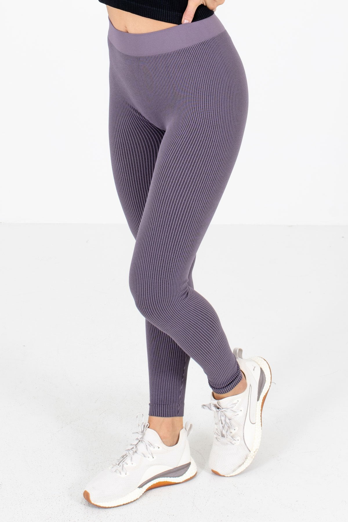 Purple Striped High-Quality Stretchy Material Boutique Active Leggings for Women