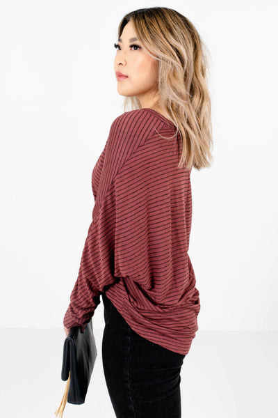 Mauve Oversized Relaxed Fit Boutique Tops for Women