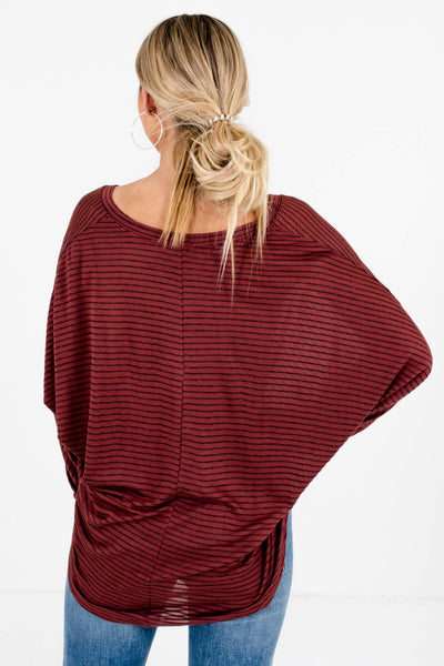 Women's Dark Mauve High-Low Hem Boutique Tops