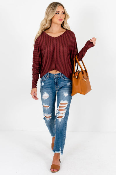 Dark Mauve Striped Lightweight High-Quality Material Boutique Tops for Women