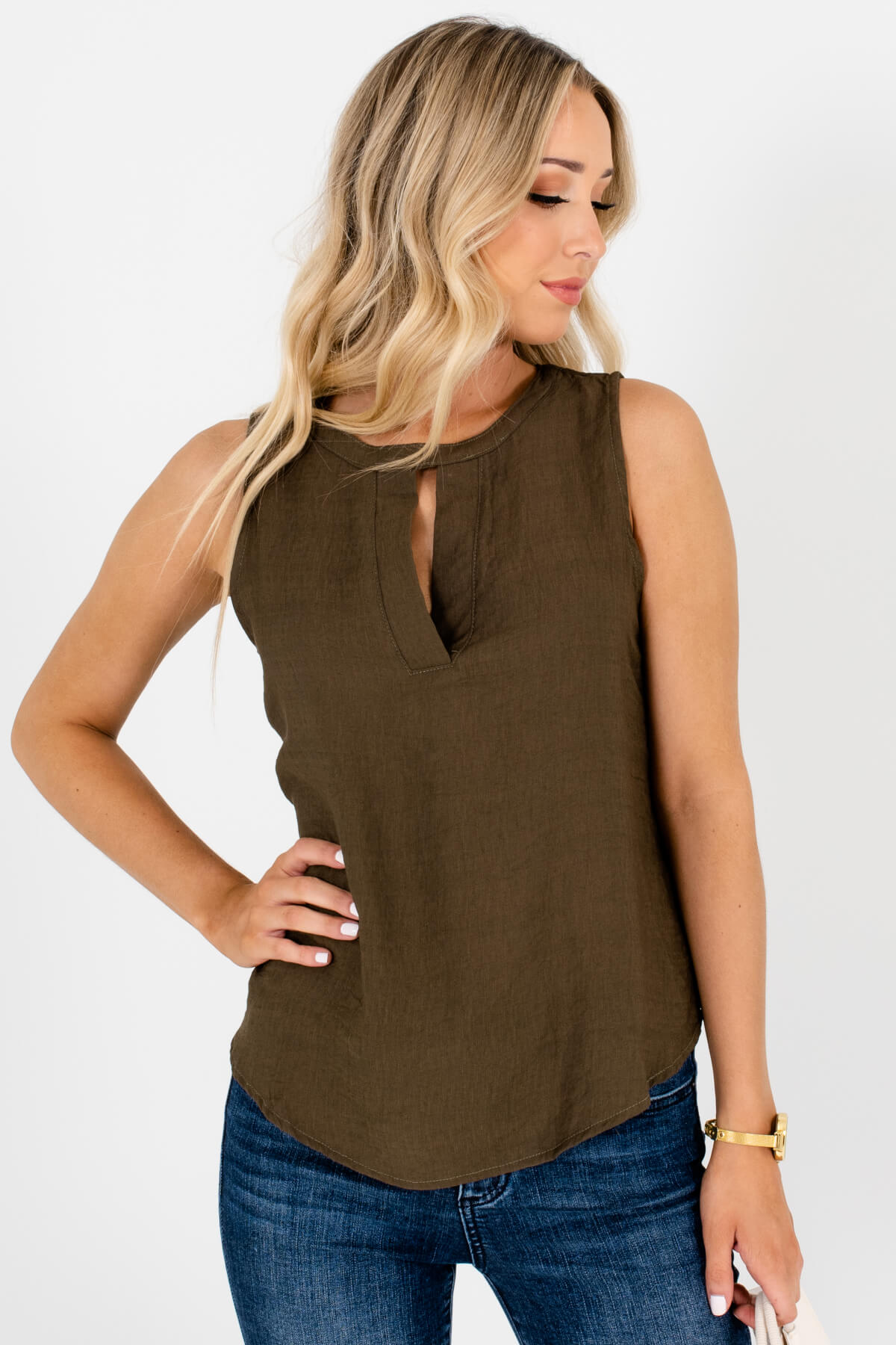 Olive Green Cutout Tank Tops Affordable Online Boutique Fashion