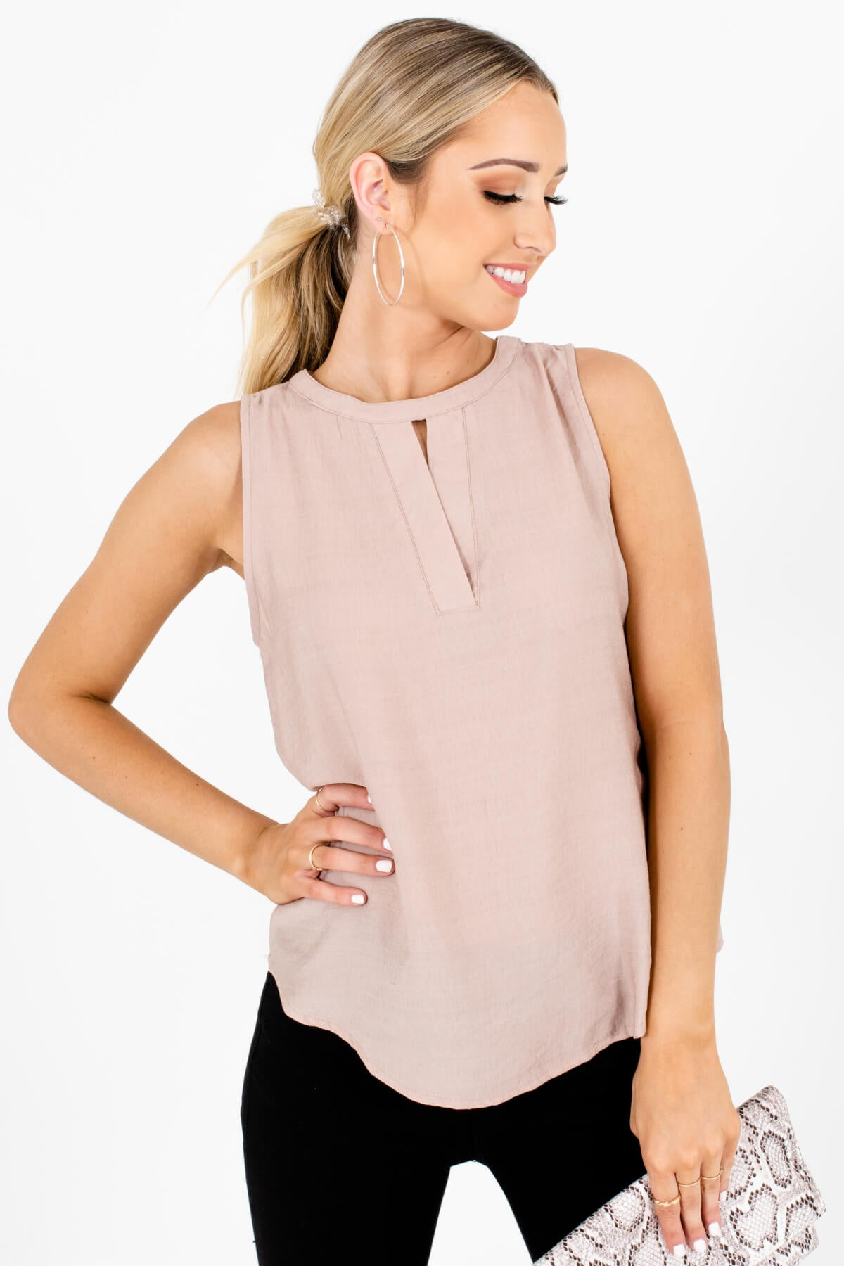 Taupe Brown Cutout Neckline Tank Tops Affordable Online Boutique