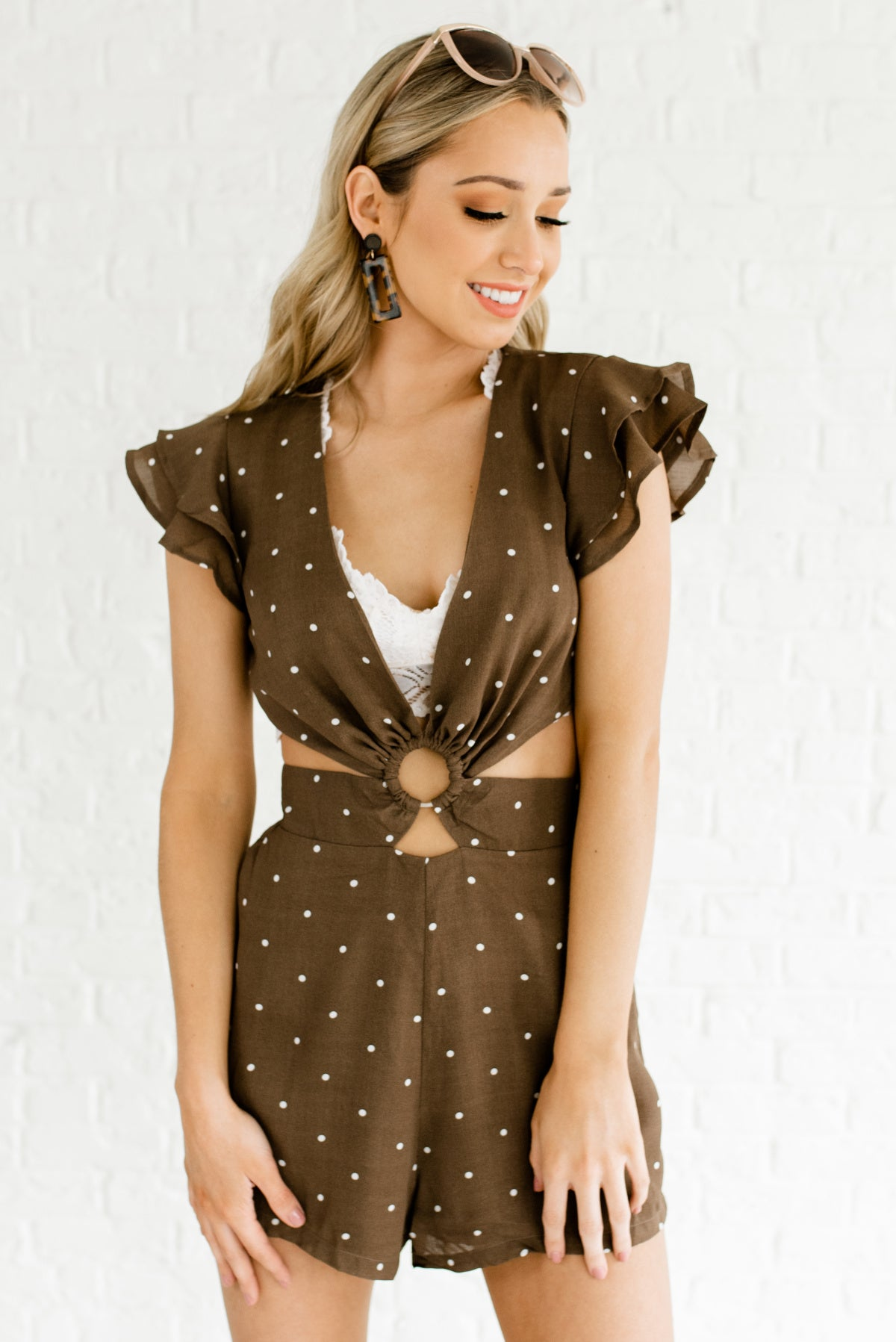Brown and White Polka Dot Patterned Boutique Rompers for Women