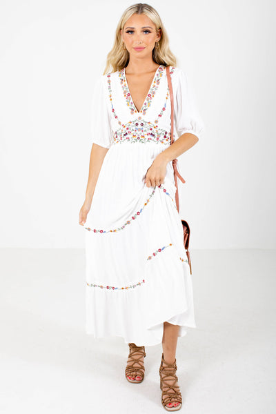 White Multicolored Floral Embroidered Detailed Boutqiue Maxi Dresses for Women