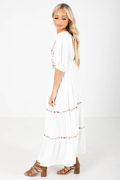 White Back Elastic Waistband Boutqiue Maxi Dresses for Women