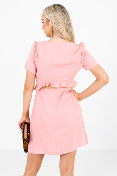 Women's Pink Cutout Detailed Boutique Mini Dress