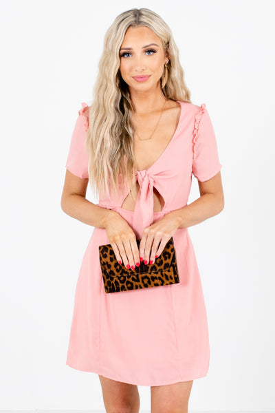 Women's Pink Back Cutout Detailed Boutique Mini Dress