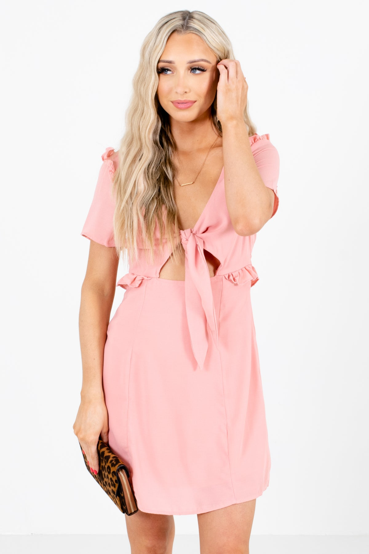 Pink Self Tie Front Boutique Mini Dresses for Women