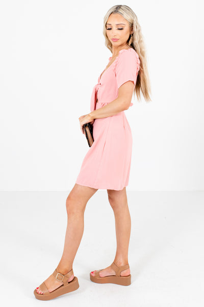 Pink Ruffle Detailed Boutique Mini Dresses for Women