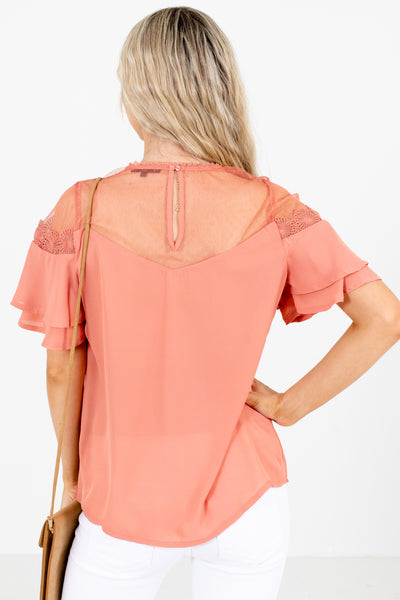 Women's Pink Ruffle Overlay Boutique Blouse
