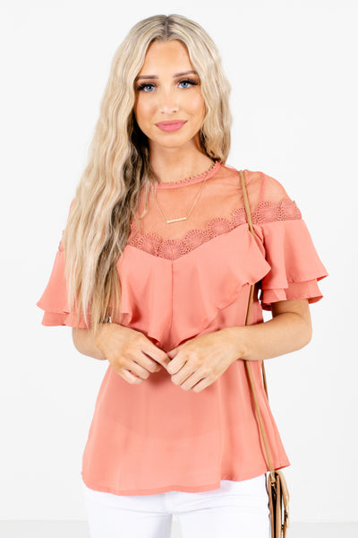 Pink Crochet Lace Detailed Boutique Blouses for Women