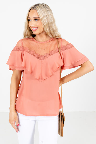 Women's Pink Lightweight High-Quality Boutique Blouse
