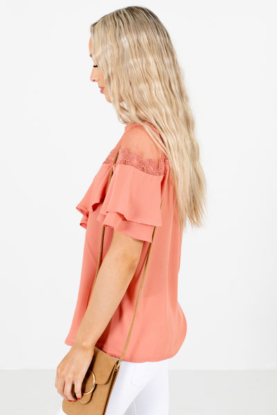 Pink Semi-Sheer Accented Boutique Blouses for Women